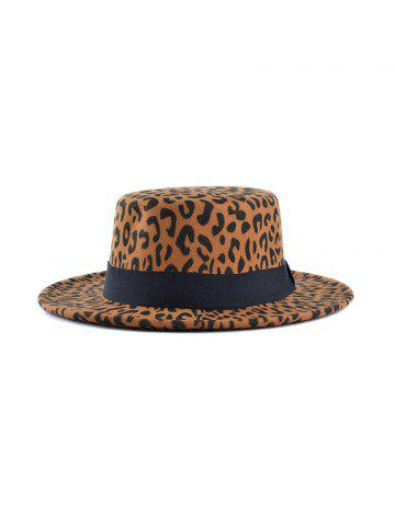 Felt Leopard Printed Flat Top Hat