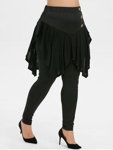 Plus Size High Waisted Button Embellished Skirted Pants