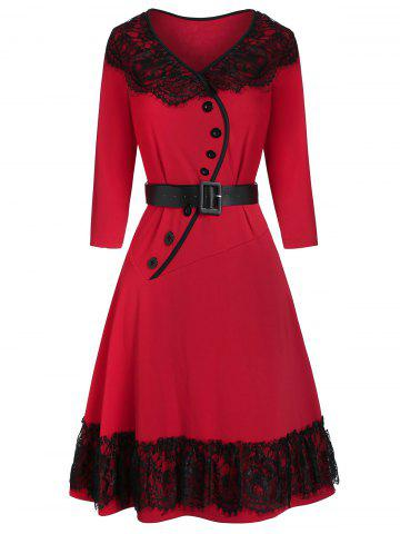 Lace Panel Button Belt Fit And Flare Dress