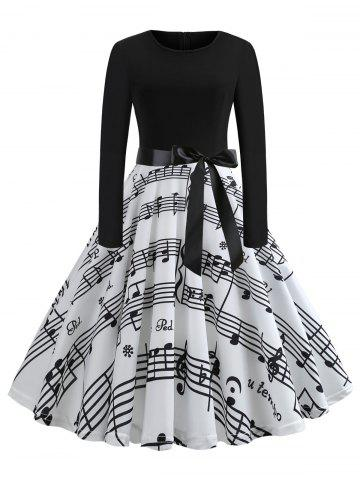 Plus Size Musical Note Print Vintage Dress
