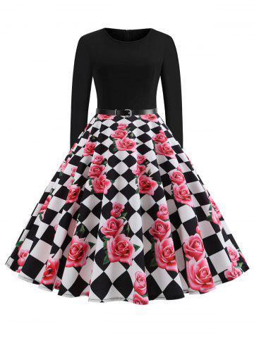 Plus Size Checkered Floral Vintage Dress