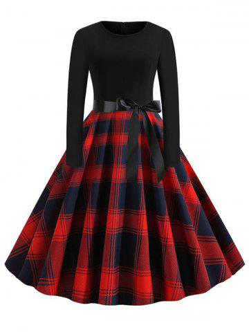 Plus Size Plaid Belted Vintage Dress