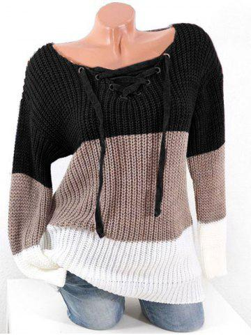 Plus Size Lace Up Hit Color Chunky Sweater