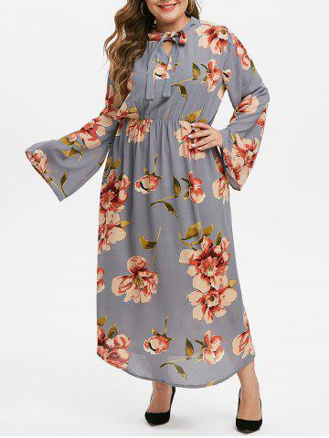 Plus Size Flower Bow Neck Maxi Dress - BLUE - 1X