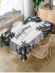 Merry Christmas Wooden Fabric Waterproof Table Cloth -