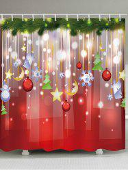 Christmas Snowflake Ball Star Waterproof Bath Curtain -