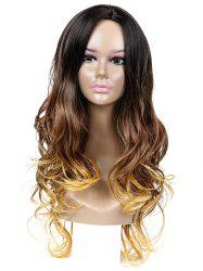 Long Center Parting Gradient Wavy Capless Synthetic Wig -