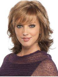 Short Inclined Bang Natural Wavy Synthetic Wig -