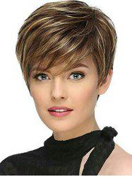 Side Fringe Colormix Short Straight Synthetic Wig -