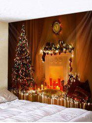Christmas Tree Candle Fireplace Pattern Tapestry -