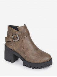 Chunky Heel Buckle and Rivet Embellished PU Leather Ankle Boots -