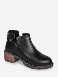 Chunky Heel PU Leather Notched Ankle Boots -