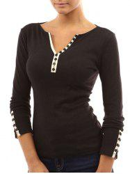 V-notch Mock Button Long Sleeve Top -