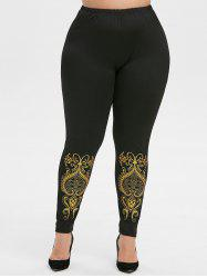Plus Size Baroque High Waisted Leggings -