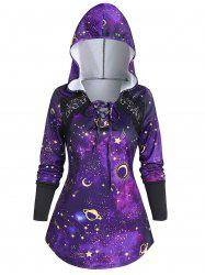 Lace Up 3D Galaxy Planet Hoodie -
