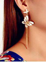 Butterfly Glazed Tassel Drop Earrings -