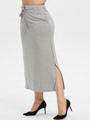 Plus Size Drawstring Maxi Straight Skirt -