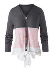 Plus Size Colorblock Front Knot Cardigan -