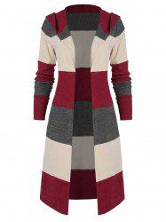 Hooded Colorblock Open Front Cardigan -