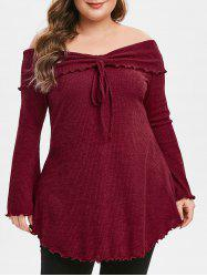 Plus Size Off The Shoulder Flare Sleeve Cinched Ribbed Sweater -