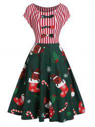 Christmas Stocking Elk Print A Line Bowknot Dress -