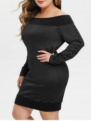 Plus Size Ribbed Trim Grommets Off The Shoulder Dress -