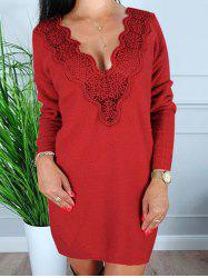 Fleece Convertible Lace Panel Sheath Dress -