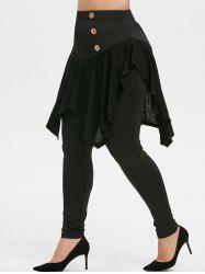 Plus Size High Waisted Button Embellished Skirted Pants -
