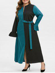 Plus Size Two Tone Slit Belted Notched Dress -