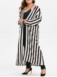 Plus Size Striped Longline Open Front Shirt -