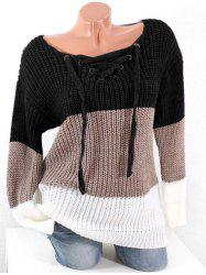 Plus Size Lace Up Hit Color Chunky Sweater -