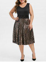 Plus Size Lace Insert Sequin Midi Evening Dress -