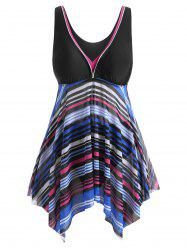 Mesh Panel Handkerchief Stripes Plus Size Tankini Swimsuit -