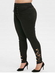 Plus Size Lace Up Buttons Tight Leggings -