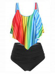 Plus Size Overlay Rainbow Color Tankini Swimsuit -