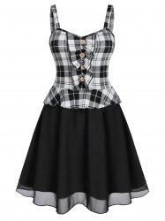 Ruched Checked A Line Dress -
