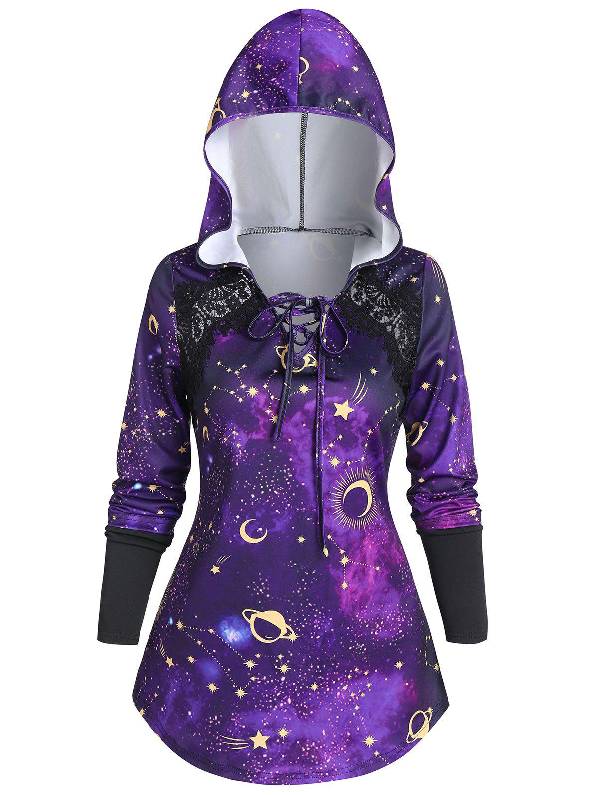 Shops Lace Up 3D Galaxy Planet Hoodie