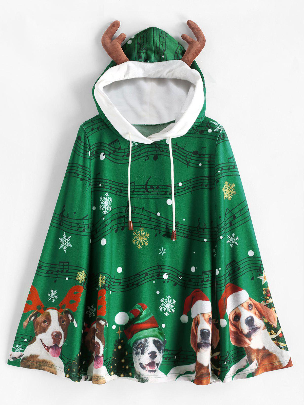 Outfits Christmas Elk Ear Musical Note Snowflake Poncho