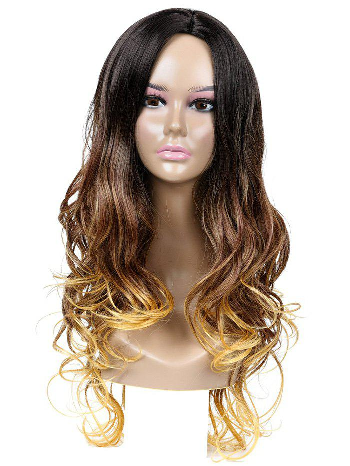 Hot Long Center Parting Gradient Wavy Capless Synthetic Wig