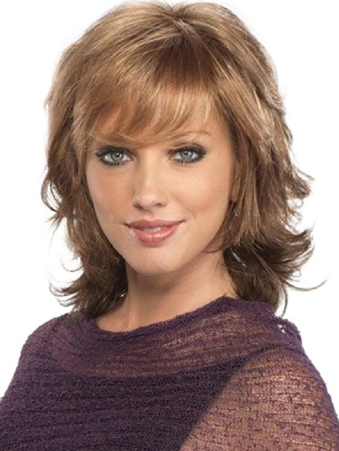 Latest Short Inclined Bang Natural Wavy Synthetic Wig