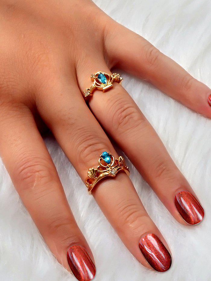 Unique 2 Pcs Faux Gem Rhinestone Crown Shape Rings
