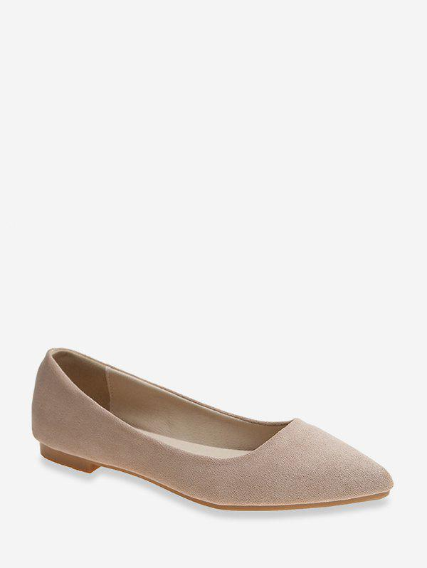 New Pointed Toe Low Heel Suede Flats