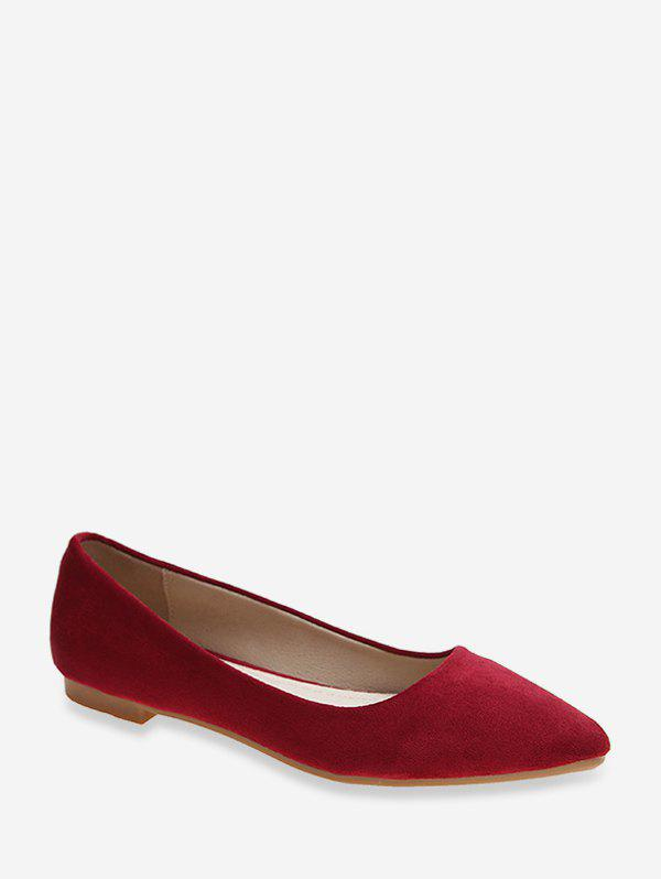 Shop Pointed Toe Low Heel Suede Flats