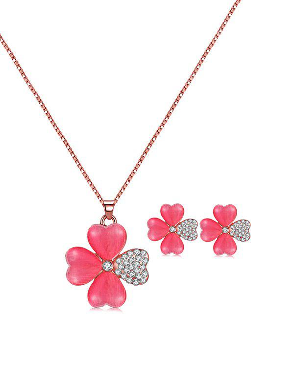 Chic Rhinestone Flower Shape Drop Necklace and Stud Earrings
