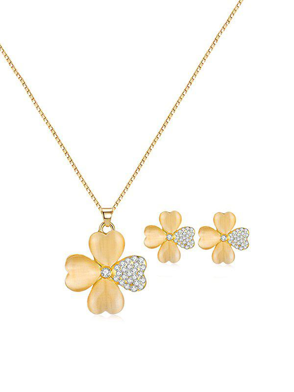 Outfits Rhinestone Flower Shape Drop Necklace and Stud Earrings