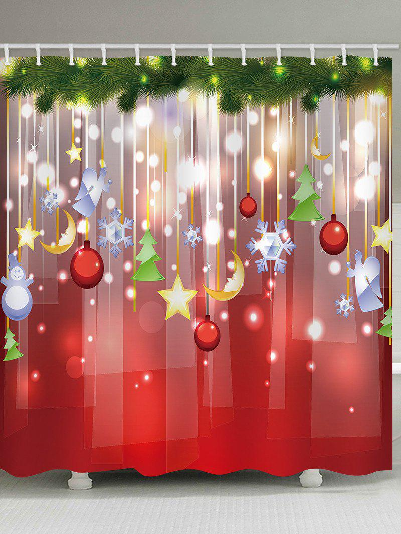 Chic Christmas Snowflake Ball Star Waterproof Bath Curtain