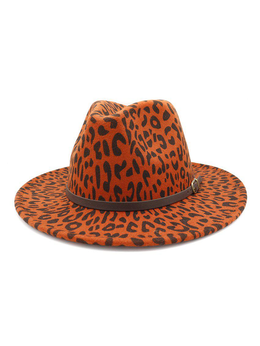 Online Belt Embellished Leopard Jazz Hat