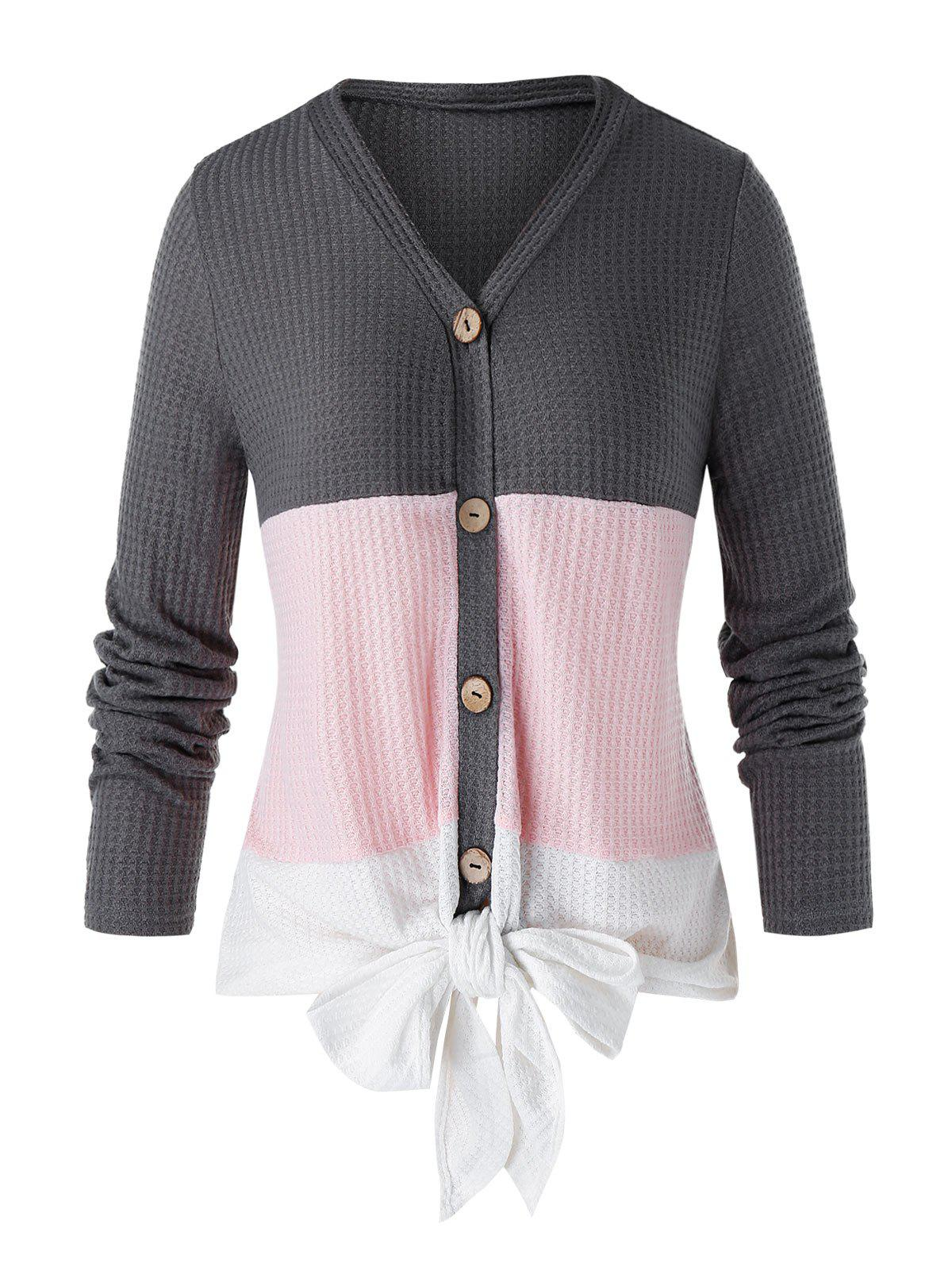 Best Plus Size Colorblock Front Knot Cardigan