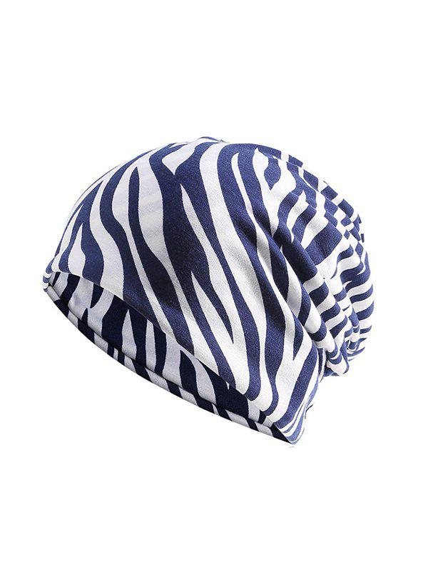 Chic Zebra Print Elastic Double Use Scarf Hat