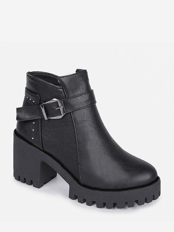 Cheap Chunky Heel Buckle and Rivet Embellished PU Leather Ankle Boots